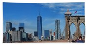 Brooklyn Bridge And Lower Manhattan Beach Towel
