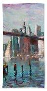Brooklyn Bridge And Twin Towers Beach Towel