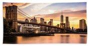 Brooklyn Bridge At Sunset  Beach Towel