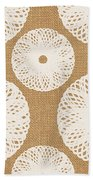 Brown And White Floral Beach Towel