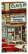 Brown Derby Van Horne Shopping Center Clay's Pharmacy Montreal Paintings City Scenes Carole Spandau Beach Towel