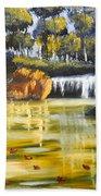 Brown Ducks Near The Waterfall Beach Towel