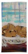 Brown Eggs In A Basket Beach Towel