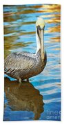 Brown Pelican Along The Bayou Beach Sheet