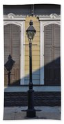 Brown Shutter Doors And Street Lamp - New Orleans Beach Towel