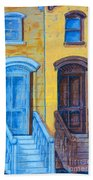 Brownstone Mural Art Beach Towel