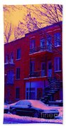 Brownstones In Winter 6 Beach Towel