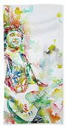 Bruce Springsteen Playing The Guitar Watercolor Portrait.2 Beach Towel
