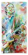 Bruce Springsteen Playing The Guitar Watercolor Portrait.3 Beach Towel by Fabrizio Cassetta