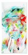 Bruce Springsteen Watercolor Portrait Beach Towel by Fabrizio Cassetta
