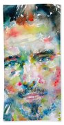 Bruce Springsteen Watercolor Portrait.1 Beach Towel by Fabrizio Cassetta