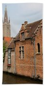 Bruges Houses With Bell Tower Beach Towel by Carol Groenen
