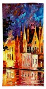 Bruges - Northern Venice Beach Towel by Leonid Afremov
