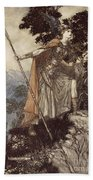 Brunnhilde From The Rhinegold And The Valkyrie Beach Towel by Arthur Rackham