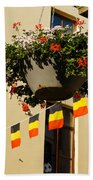 Brussels Belgium - Flowers Flags Football Beach Towel