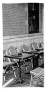 Brussels Cafe In Black And White Beach Towel