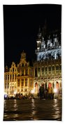 Brussels - The Magnificent Grand Place At Night Beach Towel