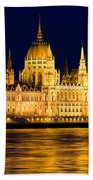 Budapest Parliament At Night Beach Towel