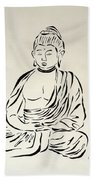 Buddha In Black And White Beach Towel by Pamela Allegretto