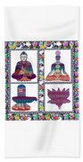 Buddha Yoga Chakra Lotus Shivalinga Meditation Navin Joshi Rights Managed Images Graphic Design Is A Beach Towel by Navin Joshi