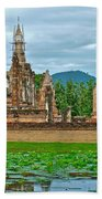 Buddhas At Wat Mahathat In 13th Century Sukhothai Historical Park-thailand Beach Towel