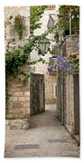 Budva Old Town Cobbled Street In Montenegro Beach Towel