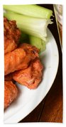 Buffalo Wings With Celery Sticks And Beer Beach Towel