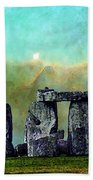 Building A Mystery 2 - Stonehenge Art By Sharon Cummings Beach Towel