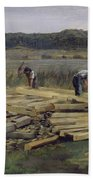 Building Site At Wesslingersee, 1876 Oil On Canvas Beach Towel