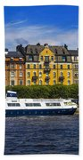 Buildings And Boats Beach Towel