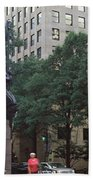 Buildings In A City, Trade And Tryon Beach Towel