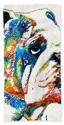 Bulldog Pop Art - How Bout A Kiss - By Sharon Cummings Beach Sheet