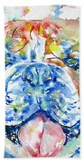 Bulldog - Watercolor Portrait Beach Towel