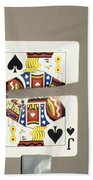 Bullet Piercing Playing Card Beach Towel by Gary S. Settles