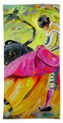 Bullfighting In Neon Light 01 Beach Towel