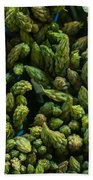 Bunches Of Asparagus On Display At The Farmers Market Beach Towel