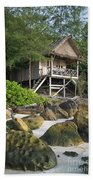 Bungalow In Koh Rong Island Beach In Cambodia Beach Towel