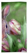 Bunny In The Tulips Beach Towel