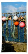 Buoys And Pots In Sennen Cove Beach Towel by Terri Waters