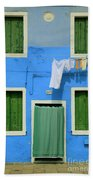 Burano Blue And Green Beach Towel