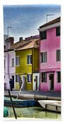 Burano Italy - Colorful Homes Beach Towel