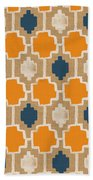 Burlap Blue And Orange Design Beach Towel by Linda Woods