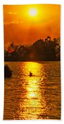 Bushfire Sunset Over The Lake Beach Towel