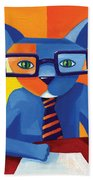 Business Cat Beach Towel by Mike Lawrence
