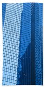 Business Skyscrapers Modern Architecture In Blue Tint Beach Towel by Michal Bednarek