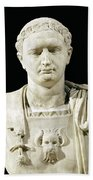 Bust Of Emperor Domitian Beach Towel