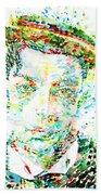 Buster Keaton - Watercolor Portrait Beach Towel