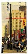 Busy Downtown Toronto Morning Cross Walk Traffic City Scape Paintings Canadian Art Carole Spandau Beach Towel