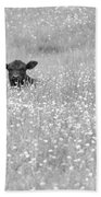 Buttercup In Black-and-white Beach Towel by JD Grimes