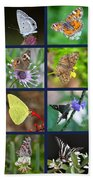 Butterflies Squares Collage Beach Towel